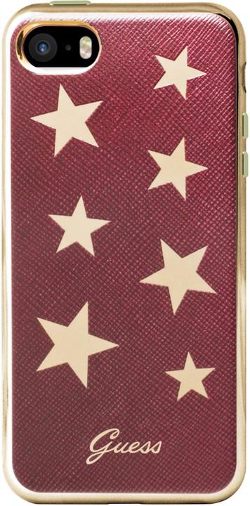 Guess Stars Soft PU Pouzdro Red pro iPhone 5S/SE