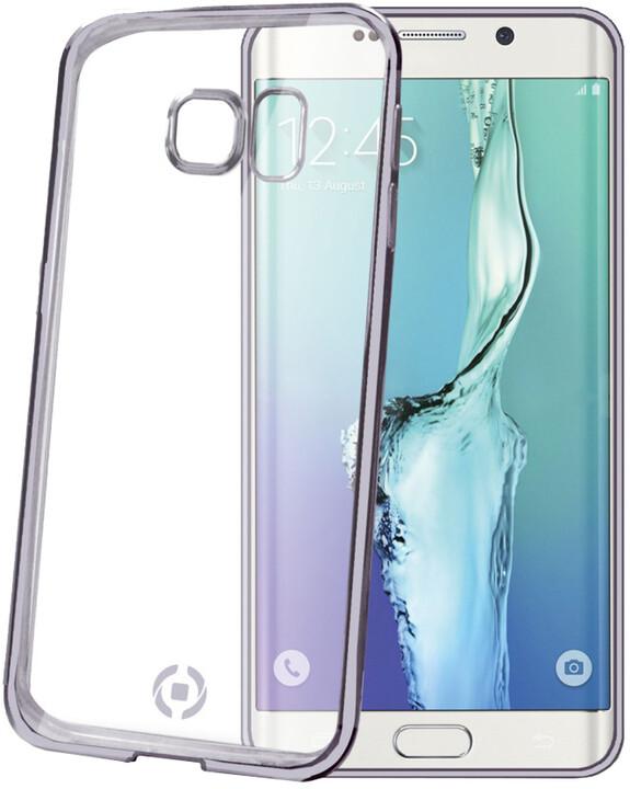 CELLY pouzdro Laser, lemování s kovovým efektem pro Samsung Galaxy S6 Edge, TPU - černá