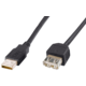 PremiumCord USB 2.0, A-A prodlužovací - 1m, černá