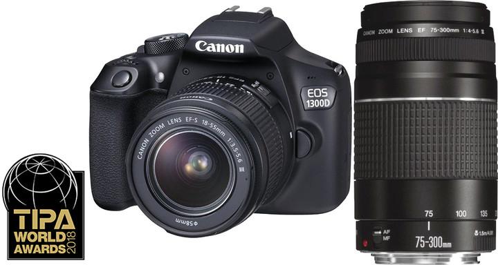 Canon EOS 200D + 18-55mm DC III + 75-300mm DC III, černá