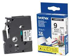 Brother páska - TZ-221, bílá / černá (9mm, laminovaná)