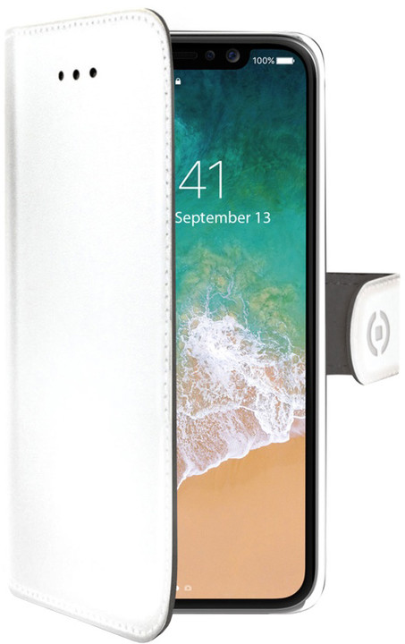 CELLY Wally pouzdro typu kniha pro Apple iPhone X, bílé