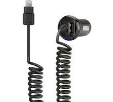 Scosche autonabíječka StrikeDrive s krouceným Lightning kabelem a USB, I2C24 - I2C24A