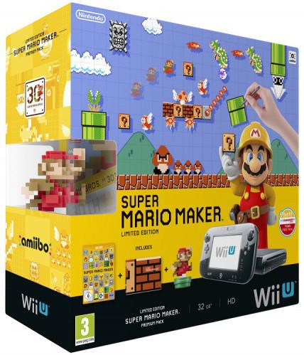 Nintendo Wii U Premium Pack Black+Super Mario Maker+amiibo