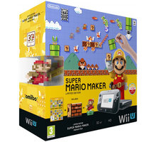 Nintendo Wii U Premium Pack Black+Super Mario Maker+amiibo - NIUH093