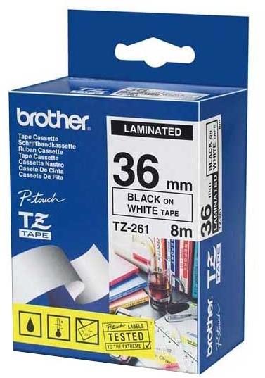 Brother páska - TZ-261, bílá/černá (36mm, laminovaná)