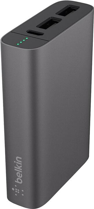 Belkin MIXIT™ Metallic Power Pack 6600, 2xUSB + Micro-USB kabel - tmavě šedá