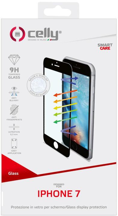 CELLY Glass ochranné tvrzené sklo pro Apple iPhone 7, černé (sklo do hran displeje, anti blue-ray)