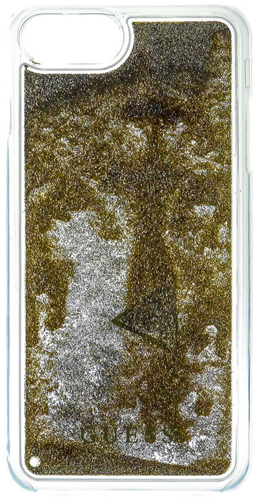 Guess Liquid Glitter Hard Triange Gold pouzdro pro iPhone 7 Plus