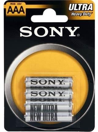 Sony Zinko - chloridové baterie - ULTRA 1,5V - 4 ks v balení - R03/AAA (ULTRA