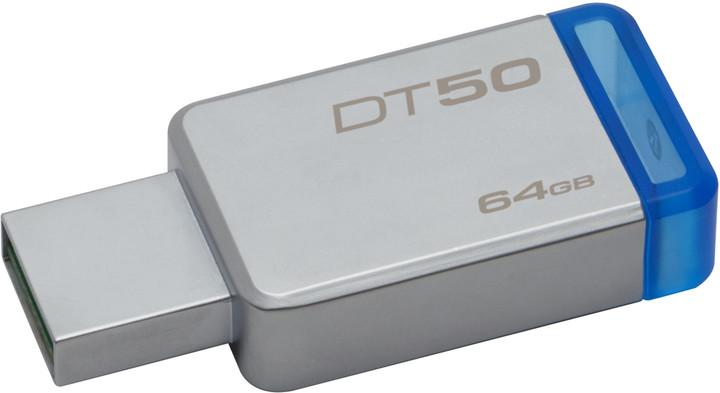 Kingston DataTraveler 50 - 64GB, modrá