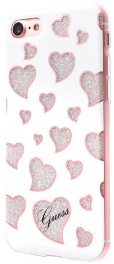 Guess Hearts TPU Pouzdro White pro iPhone 7
