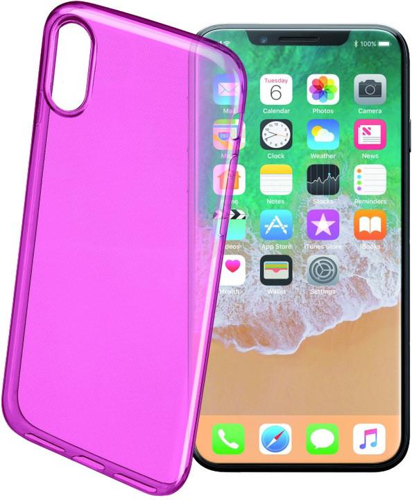 CellularLine COLOR barevné gelové pouzdro pro Apple iPhone X, růžové