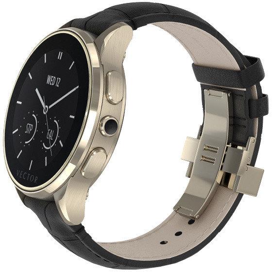 Vector SmartWatch Luna-Polished Champagne Gold/Black Padded Croco/Sml Fit