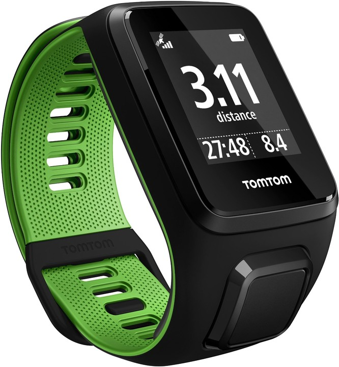 TOMTOM Runner 3 Cardio + Music (S), černá/zelená