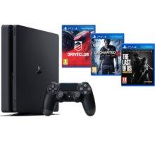 PlayStation 4 Slim, 1TB, černá + Uncharted 4 + DRIVECLUB + The Last of Us - PS719806868 + Gamepad Sony DS4 V2, černý v ceně 1400 Kč