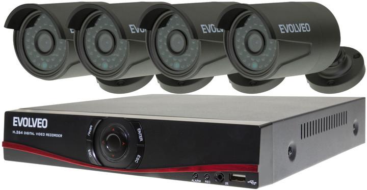 Evolveo Detective D04, 4-kanálový NVR + 4x kamera HD720p, IP65