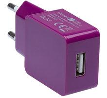 CONNECT IT nabíjecí adaptér 1xUSB port 1 A, fialová - CI-600