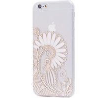 EPICO pružný plastový kryt pro iPhone 6/6S HOCO FLOWER - transparentní bílá/zlatá - 4410101000017