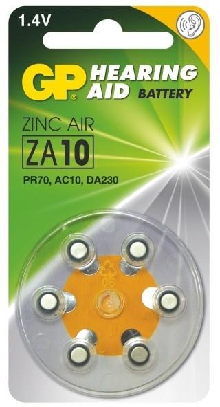 GP, ZA10, baterie do naslouchadel, 6ks