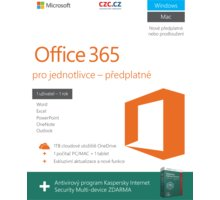 Microsoft Office 365 pro jednotlivce + Kaspersky Internet Security Multi Device, bez média, 1 rok - QQ2-00012
