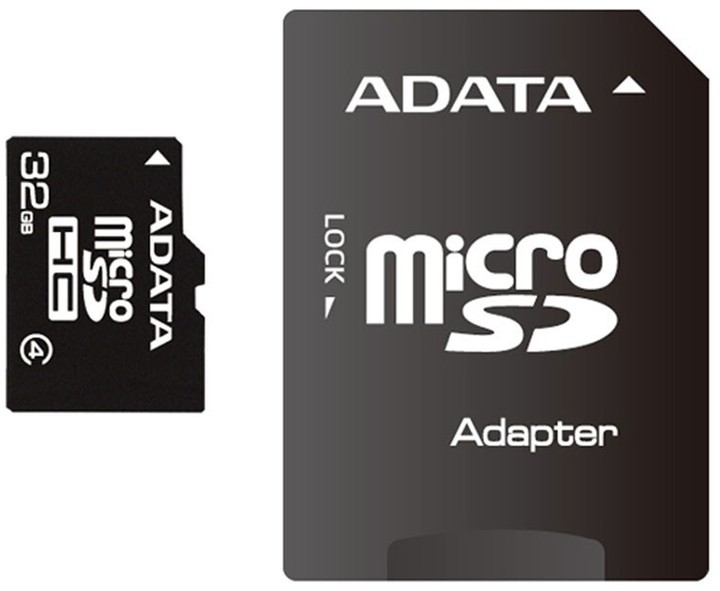 ADATA Micro SDHC 32GB Class 4 + adaptér