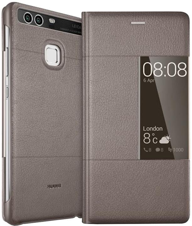Huawei Original S-View pouzdro pro P9, hnědá