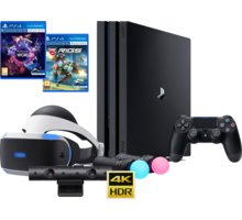 VR ULTIMATE SET - PS4 Pro, 1TB - PS719887256B3 + Gamepad Sony DS4 V2, černý v ceně 1400 Kč + Virtuální brýle PlayStation VR + PlayStation VR Worlds (PS4 VR) + RIGS: Mechanized Combat League (PS4 VR) + PlayStation 4 - Move Controller, twin pack, černý + Pl