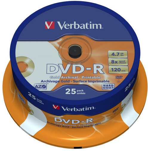 Verbatim DVD-R Archival-Printable 8x 4,7GB spindl 25ks