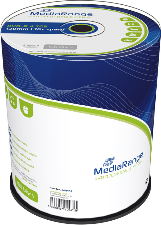 MediaRange DVD-R 4,7GB 16x, Spindle 100ks