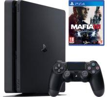 PlayStation 4 Slim, 1TB, černá + Mafia III - PS719896654 + Gamepad Sony DS4 V2, černý v ceně 1400 Kč