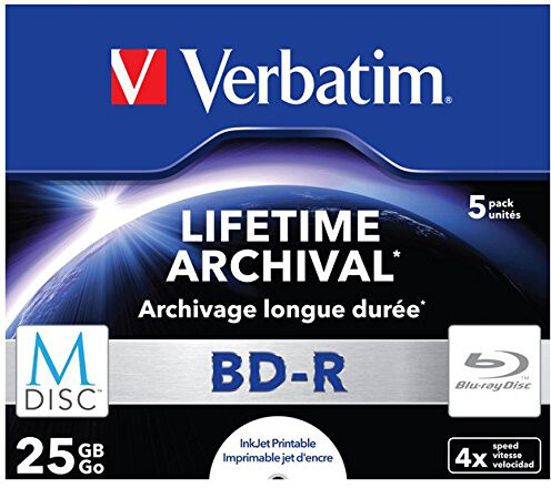Verbatim BD-R, M-Disc, 4x, 25GB, printable, 5 ks, jewel
