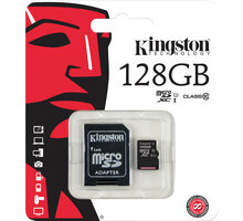 Kingston Micro SDXC 128GB Class 10 UHS-I + adaptér