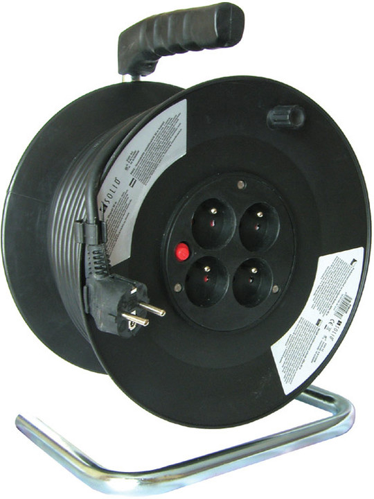 Prodlužovací kabel 230V 25m - 4x zásuvka, černý, na bubnu