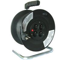 Prodlužovací kabel 230V 25m - 4x zásuvka, černý, na bubnu - 8595092107291