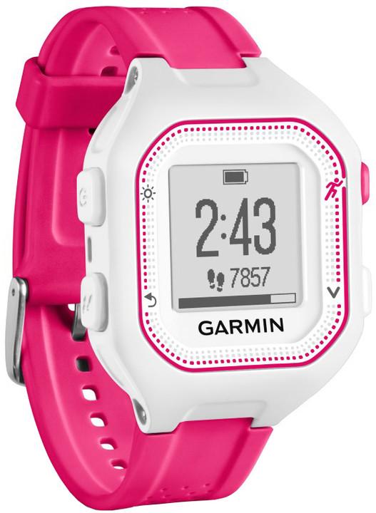 GARMIN Forerunner 25 HR Optic, S, růžová/bílá