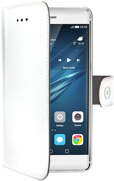 CELLY Wally pouzdro typu kniha pro Huawei P9, PU kůže, bílé