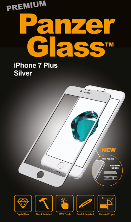 PanzerGlass ochranné sklo PREMIUM na displej pro Apple iPhone 7 Plus, stříbrná