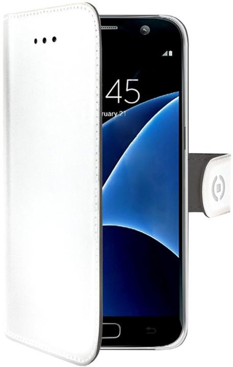 CELLY Wally Pouzdro typu kniha pro Samsung Galaxy S7, PU kůže, bilé