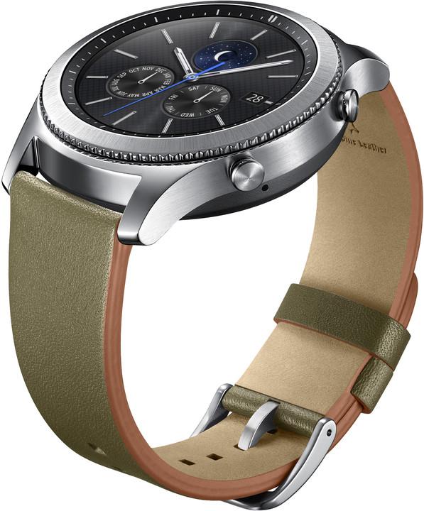 Samsung náramek ET-YSL76MGEG Leather Strap Gear S3, zelený