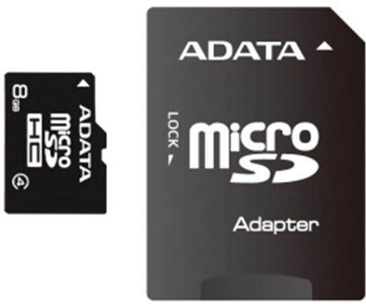 ADATA Micro SDHC 8GB Class 4 + adaptér