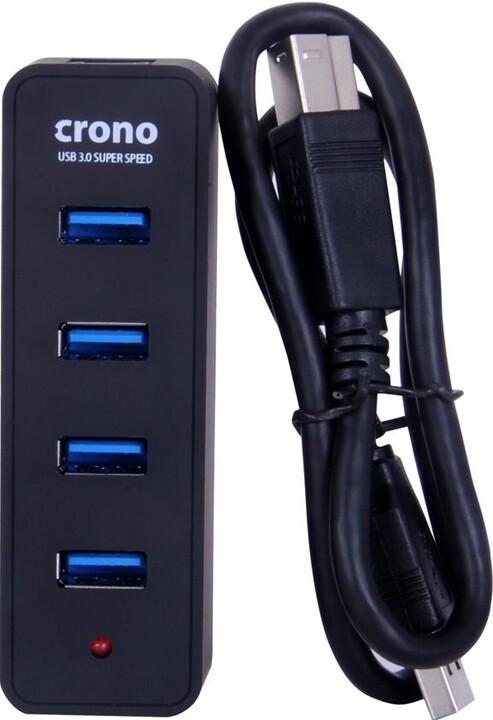 Crono USB HUB 4 porty, USB 3.0, černá