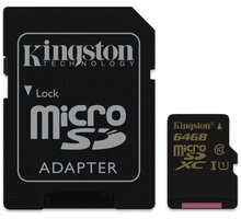 Kingston Micro SDXC 64GB Class 10 UHS-I + SD adaptér - SDCA10/64GB