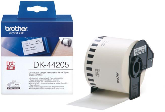 Brother - DK44205 (papírová role bílá 62mm x 30,48m) - snadno odstranitelná