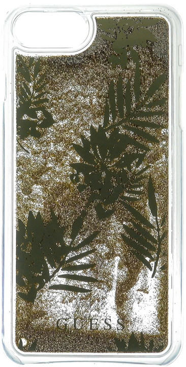 Guess Liquid Glitter Hard Palm Spring Gold pouzdro pro iPhone 7 Plus