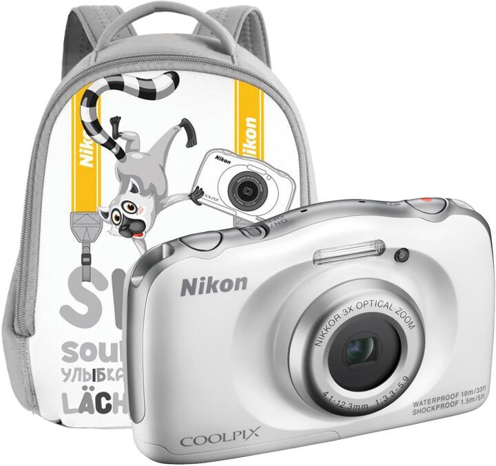 Nikon Coolpix S33, bílá + Backpack kit