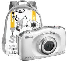 Nikon Coolpix S33, bílá + Backpack kit - VNA850K001