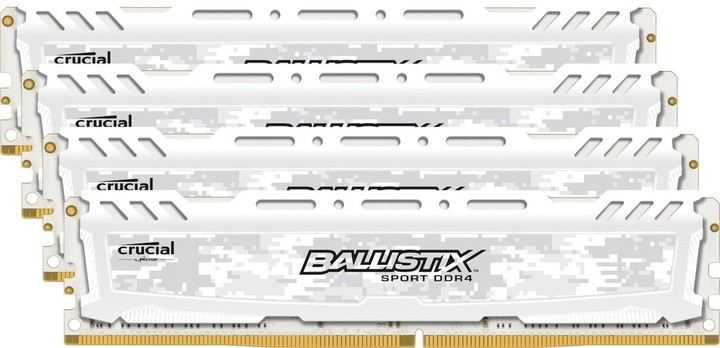 Crucial Ballistix Sport LT White 64GB (4x16GB) DDR4 2400