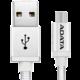 ADATA Micro USB kabel pletený, 1m, stříbrný