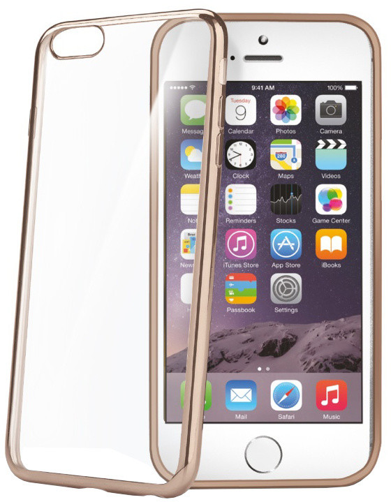CELLY Laser, lemování s kovovým efektem pouzdro pro Apple iPhone 6/6S, zlatá